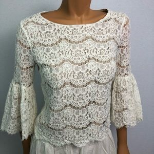 Rose + Olive lace blouse bell sleeves Sz S